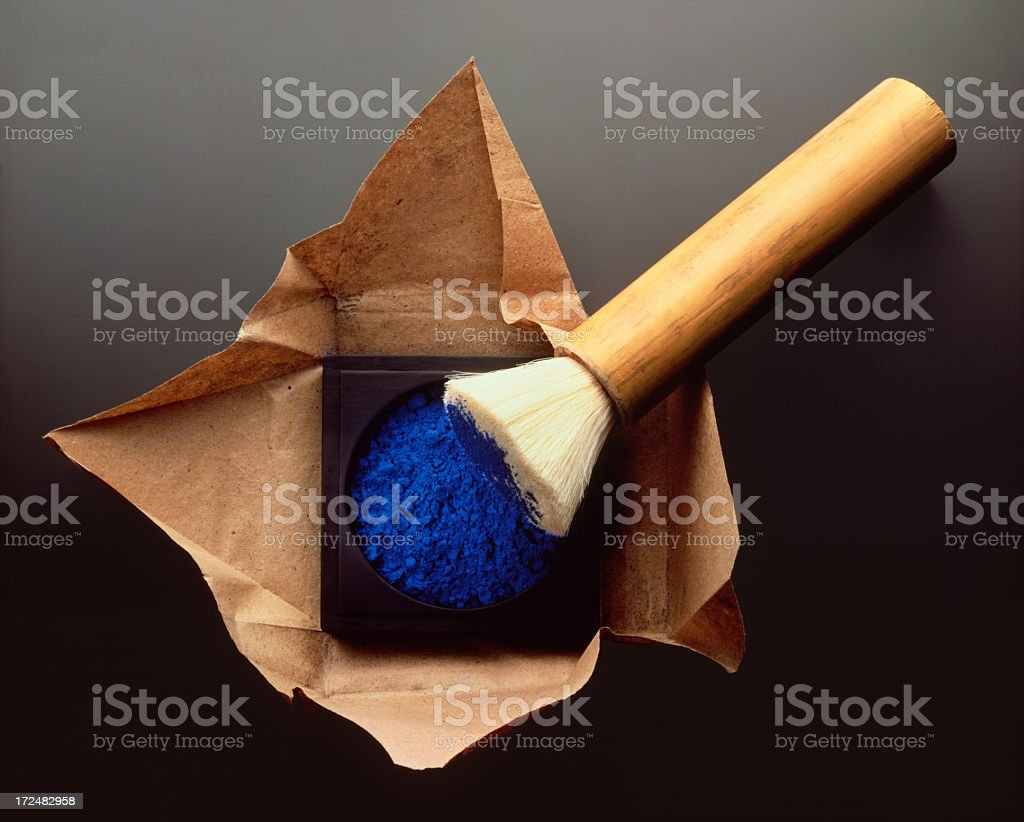 Paintbrush and Blue Pigment royalty-free stock photo
