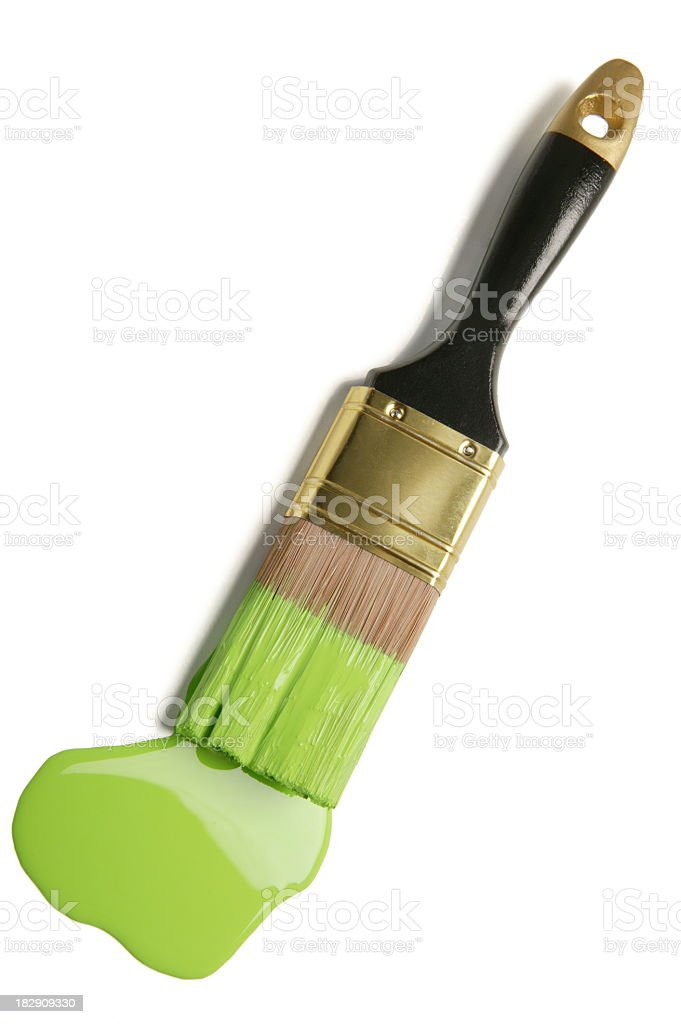 paintbrush and green paint blob(w/clipping path) stock photo