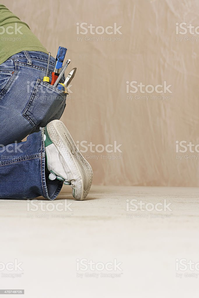 Paintbrush And Hand Tools In Back Denim Jeans Pocket royalty-free stock photo