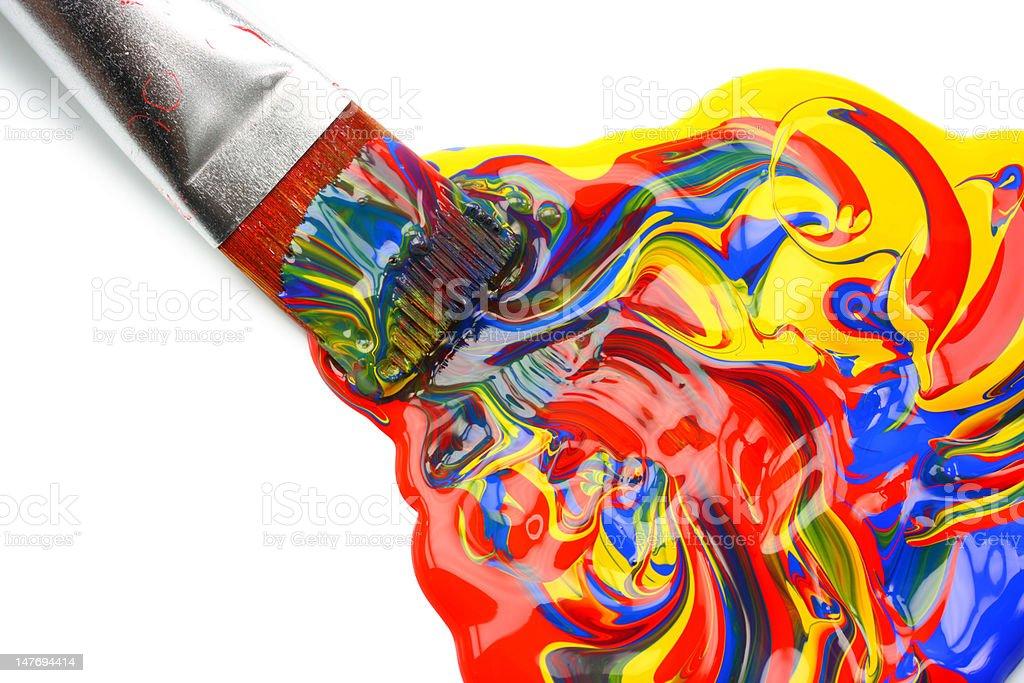 Paintbrush and mixed acrylic paint royalty-free stock photo