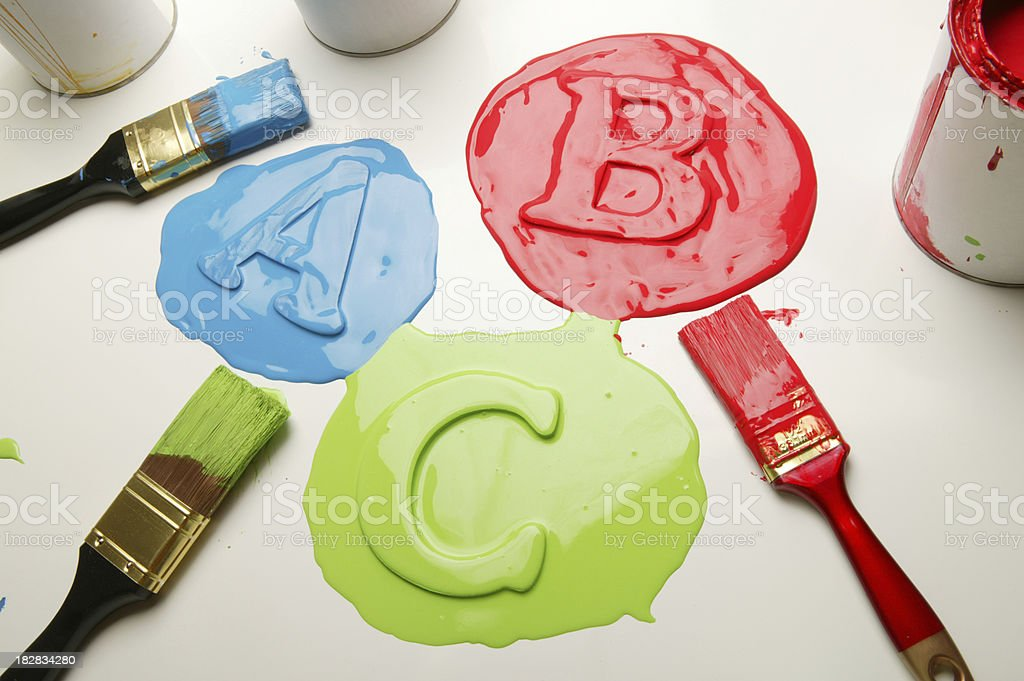 paintbrush and paint blob ABC of painting royalty-free stock photo