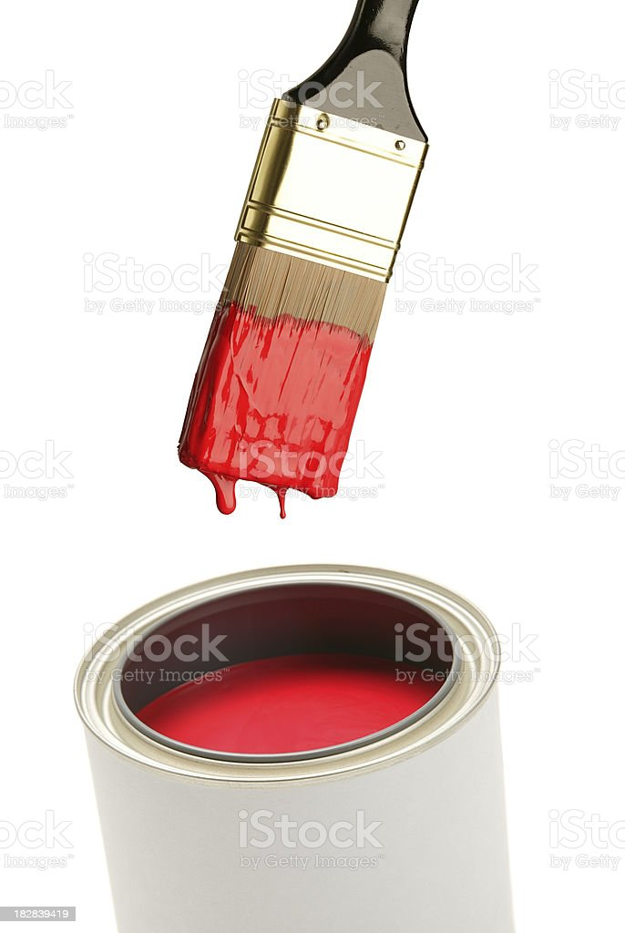 paintbrush and paint can(w/path) royalty-free stock photo