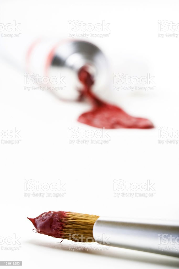 paintbrush and red paint - series royalty-free stock photo