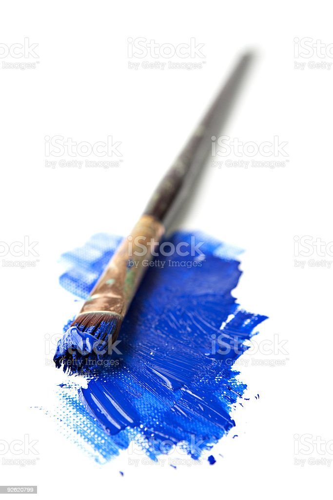 Paintbrush in Extreme Perspective Isoalted on White royalty-free stock photo