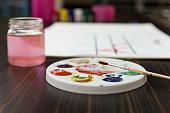 Paintbrush on color palette background