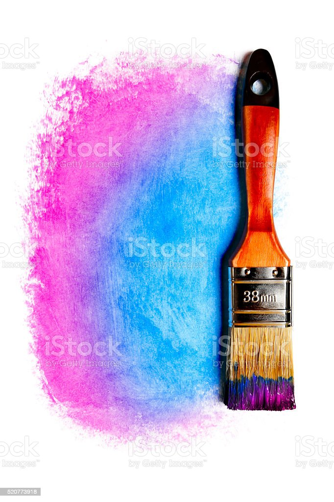 Paintbrush with blue and purple paint (isolated on white) stock photo