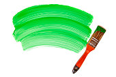 Paintbrush with green paint (isolated on white)