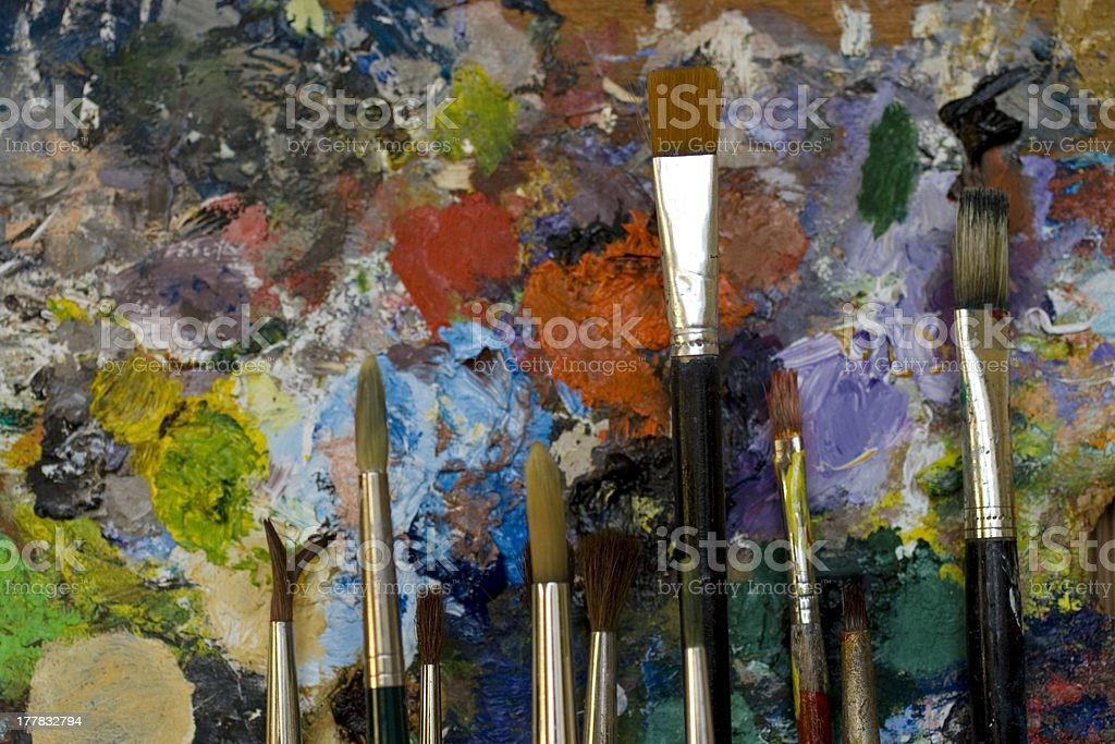 Paintbrushes and palette royalty-free stock photo