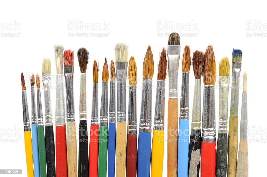 Paintbrushes in a row royalty-free stock photo