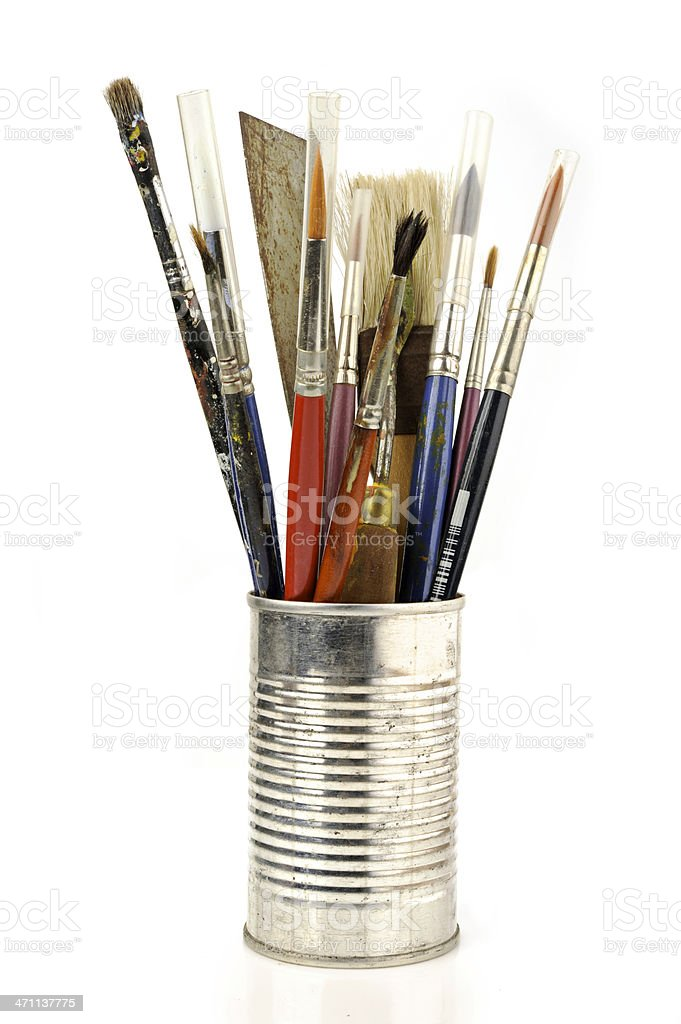 paintbrushes inside a can stock photo