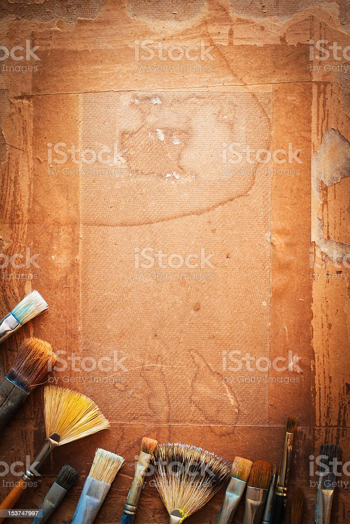 paintbrushes on a panel royalty-free stock photo