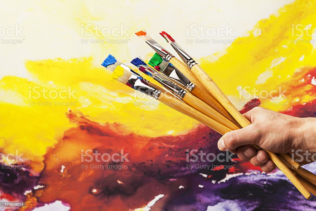Paintbrushes on Hand royalty-free stock photo