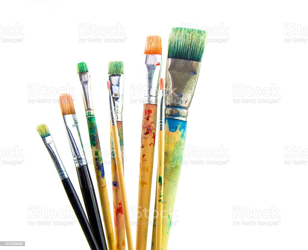 Paintbrushes used stock photo