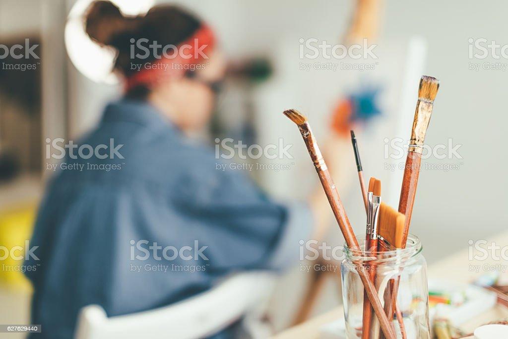 Paintbushes of choice stock photo