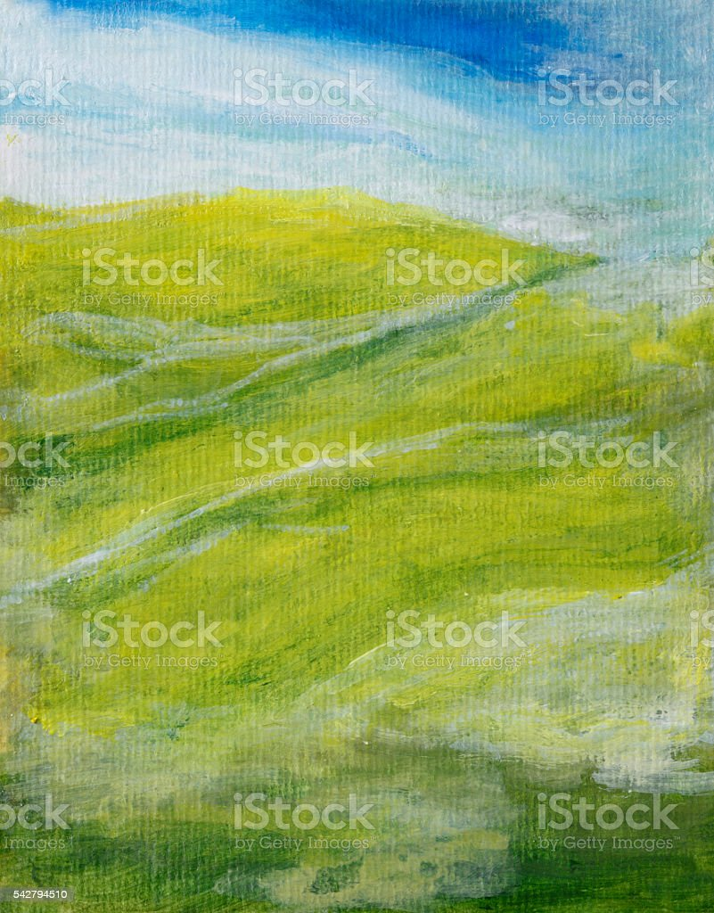 Painted abstract landscape stock photo