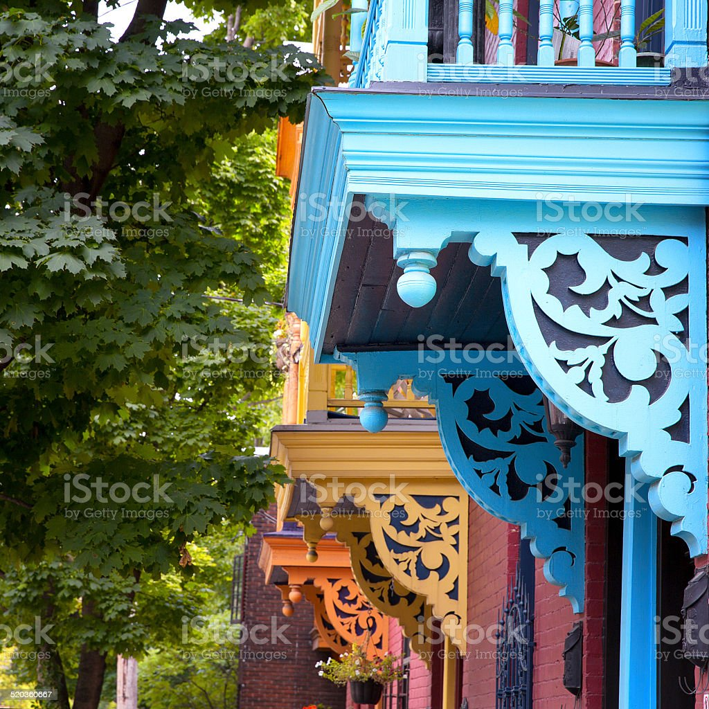 Painted balconies, Montreal stock photo