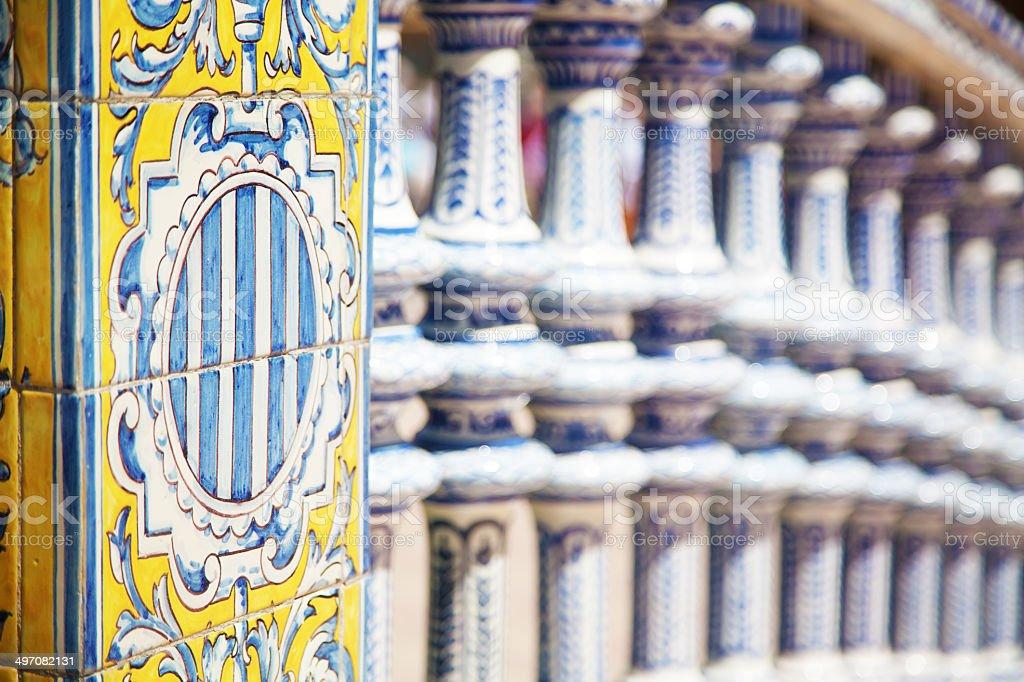 Painted balustrade in Plaza de Espana, Sevilla royalty-free stock photo