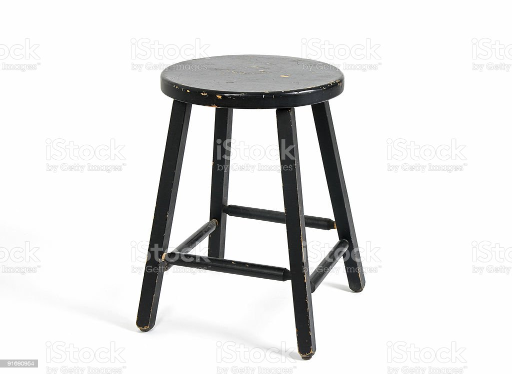 Painted black wooden stool royalty-free stock photo