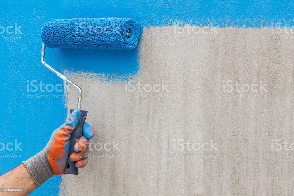 Painted blue on the wall stock photo
