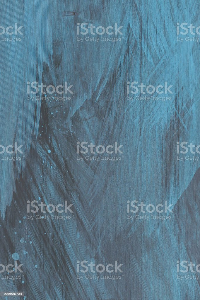painted blue timber background with brush strokes. stock photo