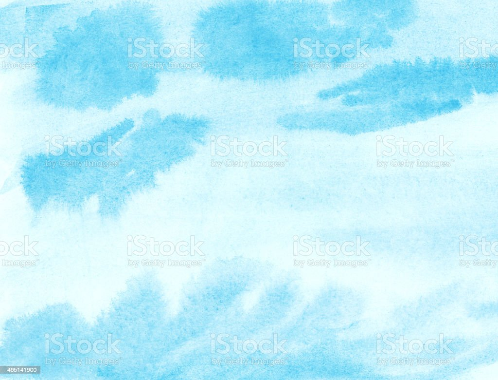 Painted blue watercolor cloud and sky stock photo