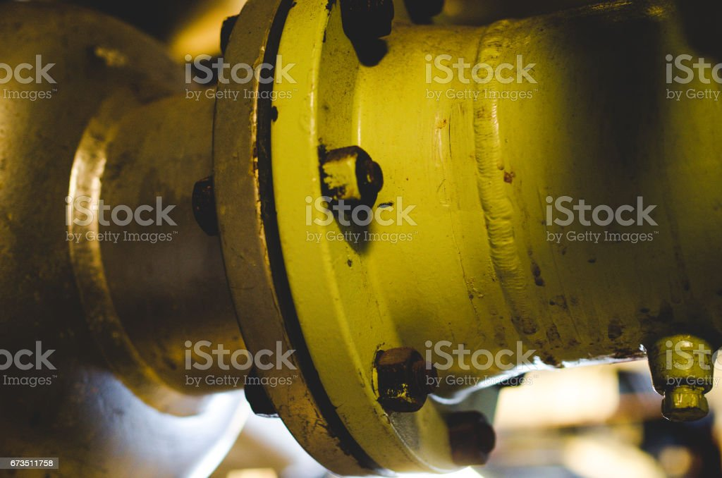 Painted bolt and nuts. stock photo