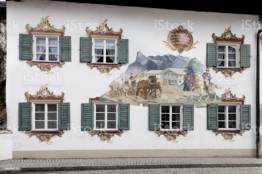 \'An attractive building painted in Trompe L\'oeil style. These wall...