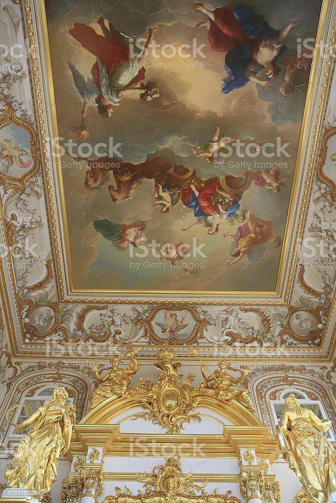 Painted ceiling in Peters Palace,Peterhof, St Petersburg, Russia. stock photo