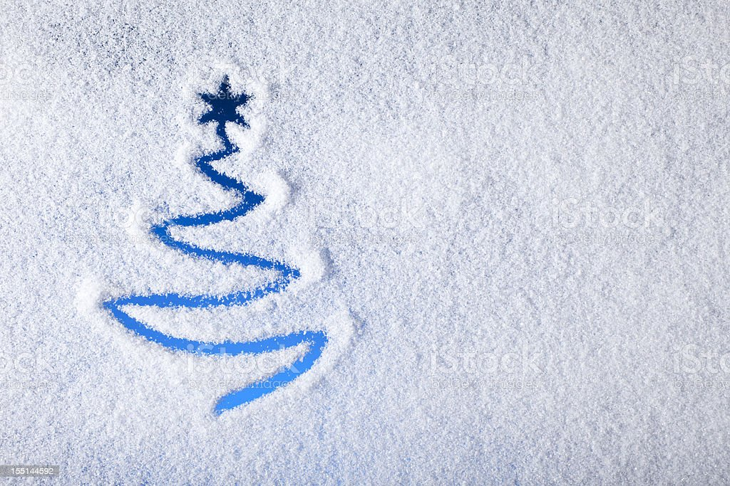 Painted christmas tree on snow - Background Winter Window stock photo