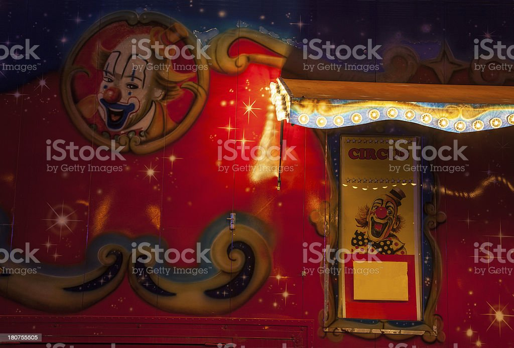 Painted circus façade at night stock photo