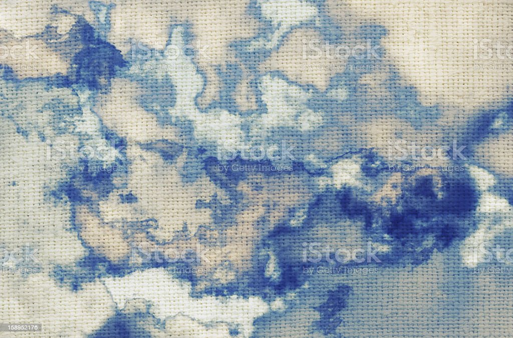 Painted clouds, sky on fabric texture royalty-free stock photo