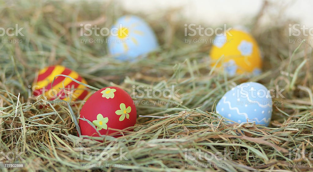Painted colorful Easter eggs in hay royalty-free stock photo