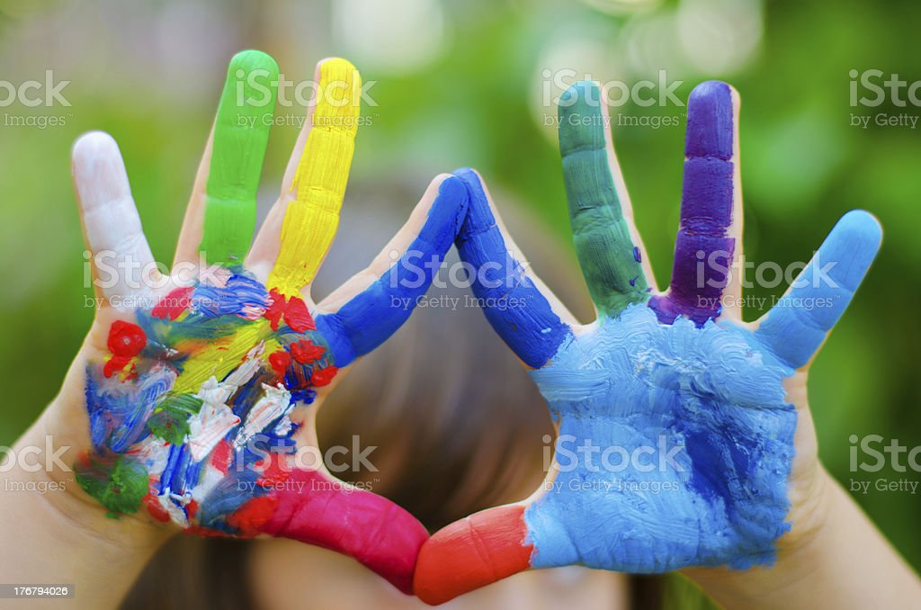 painted colorful hands royalty-free stock photo
