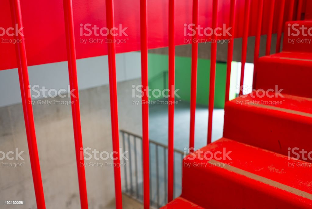 Painted concrete staircase stock photo