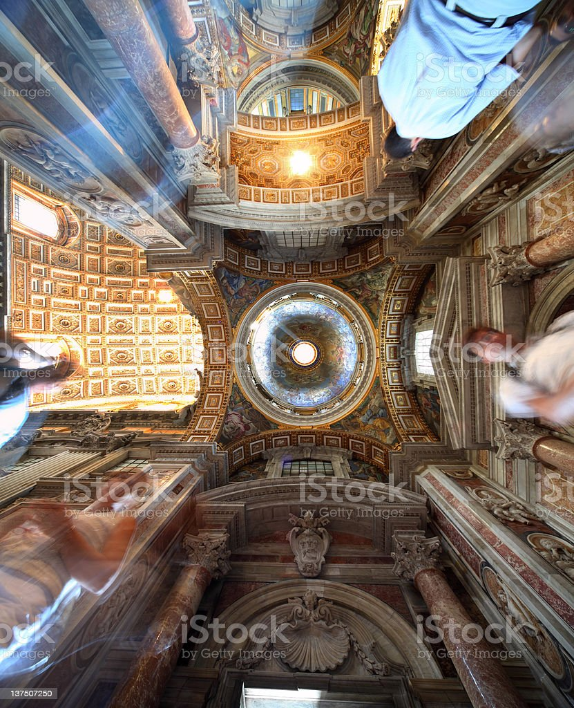 Painted dome in Papal Basilica of Saint Mary Major royalty-free stock photo