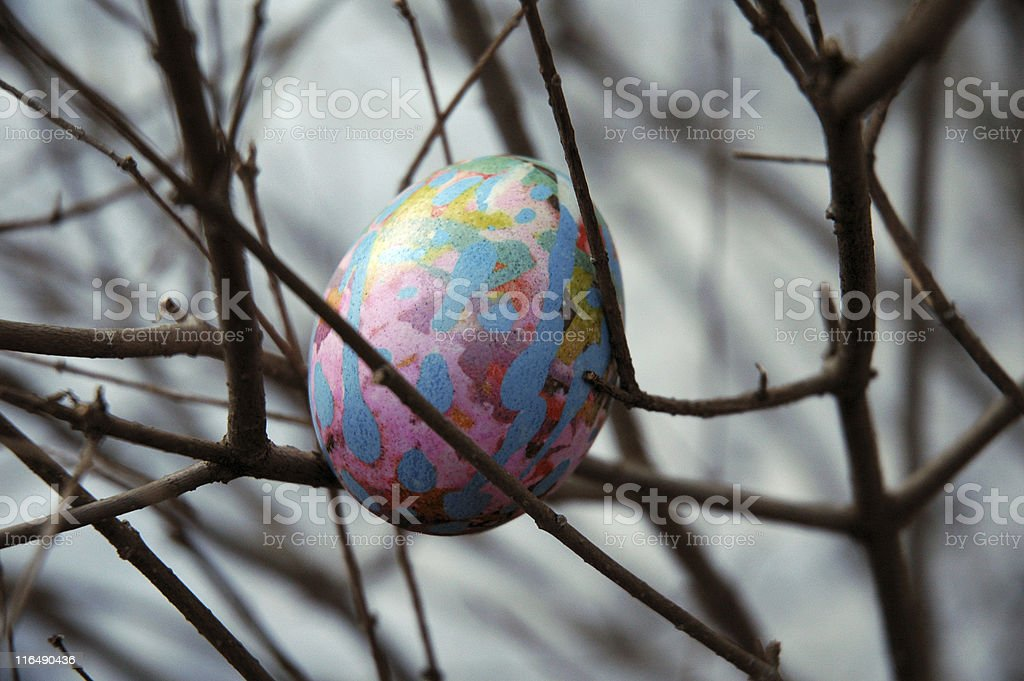 Painted Easter Egg In Tree stock photo