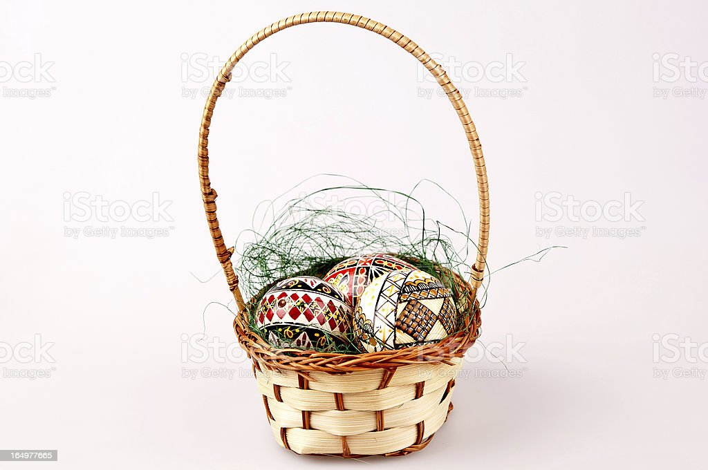painted easter eggs in basket royalty-free stock photo