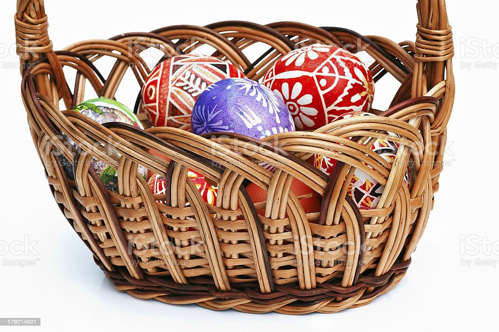painted Easter Eggs in wicker basket royalty-free stock photo