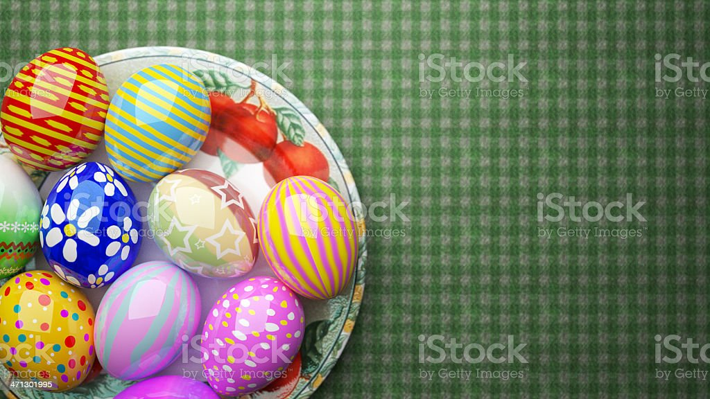 painted Easter eggs on the plate royalty-free stock photo