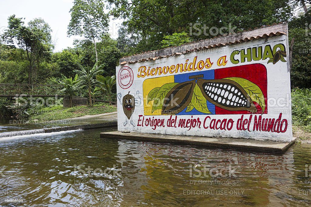 Painted entrance plate at cocoa plantation in Venezuela royalty-free stock photo