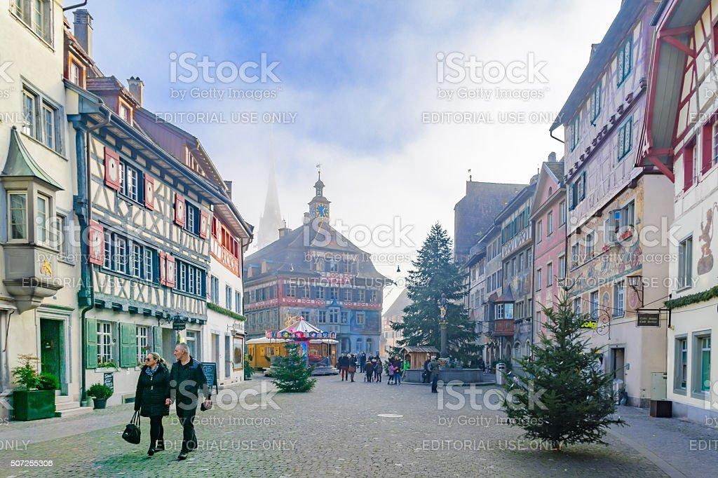 Painted facades, in Stein am Rhein stock photo