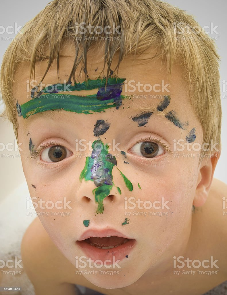 Painted face of a child. stock photo