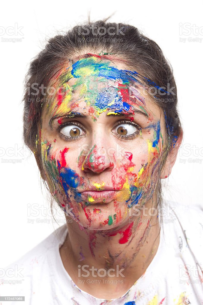 Painted face with squinting eyes royalty-free stock photo