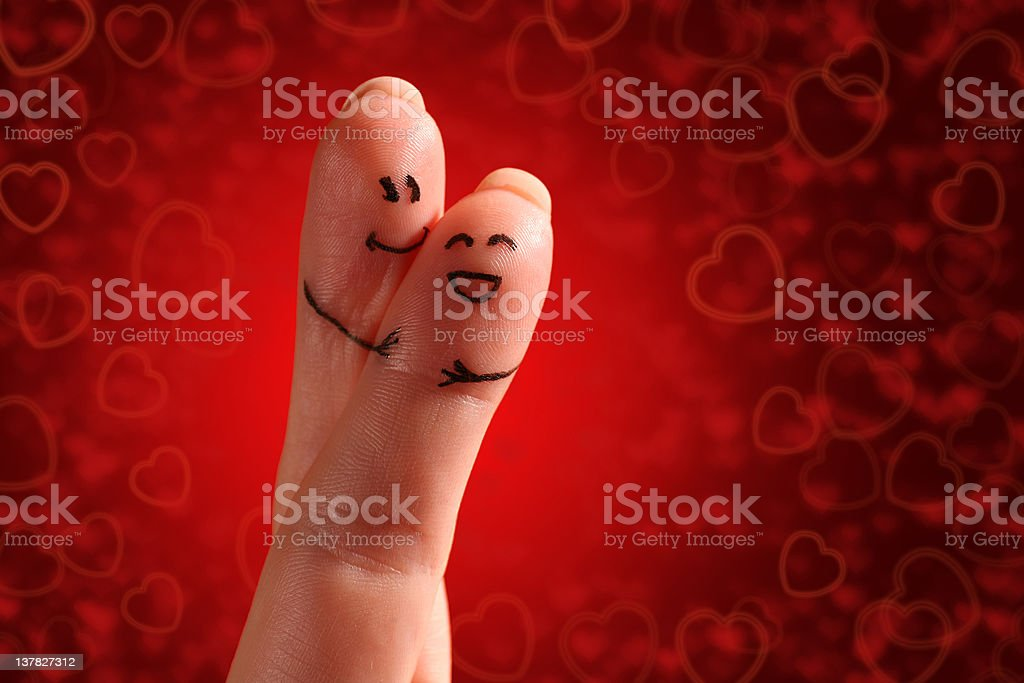 Painted finger smiley, valentine's day theme royalty-free stock photo