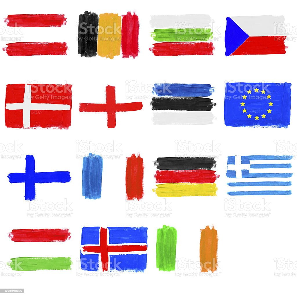 Painted flags of Europe - part 1 stock photo