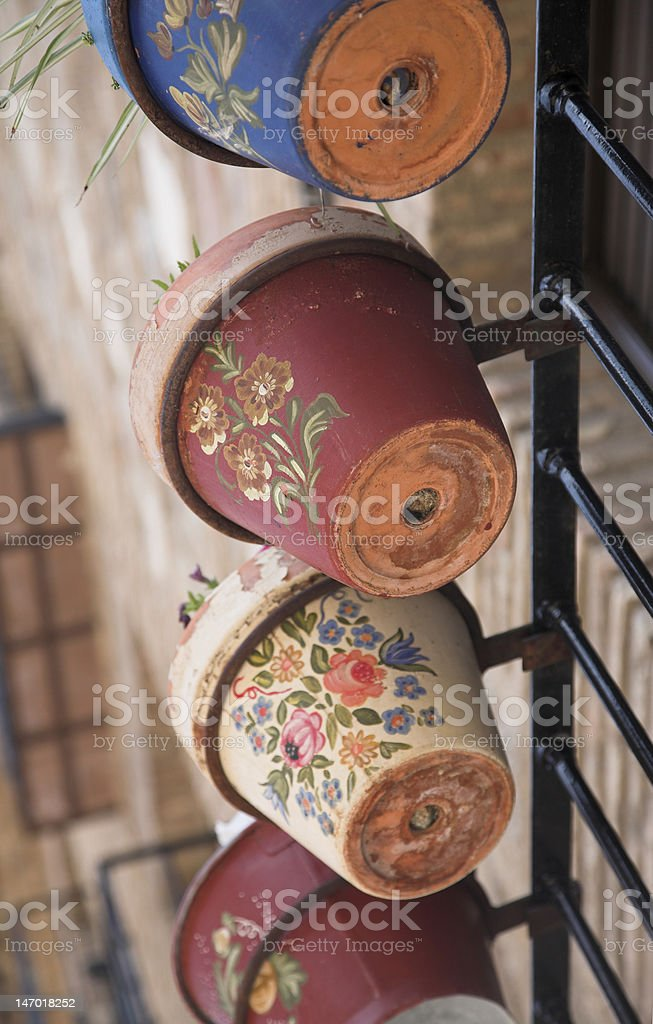 Painted flower pots stock photo