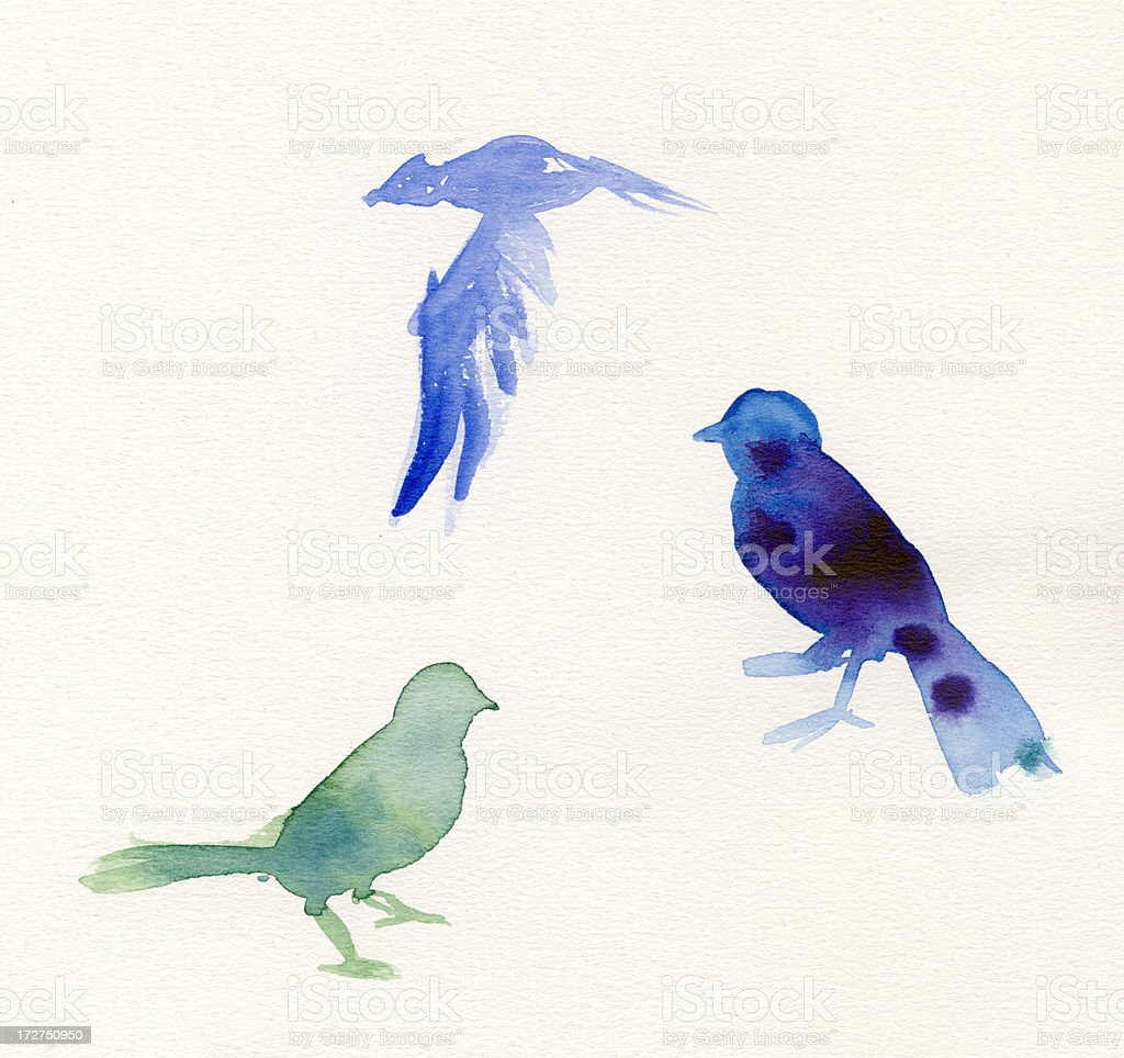 Painted green and blue watercolor birds royalty-free stock photo