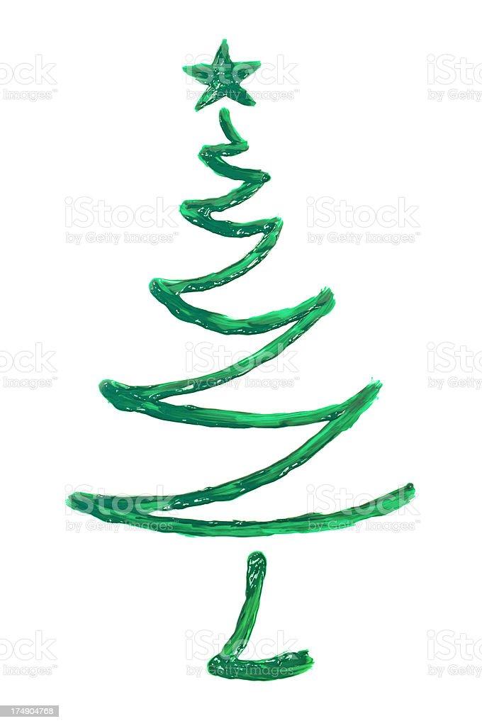 Painted green christmas tree stock photo