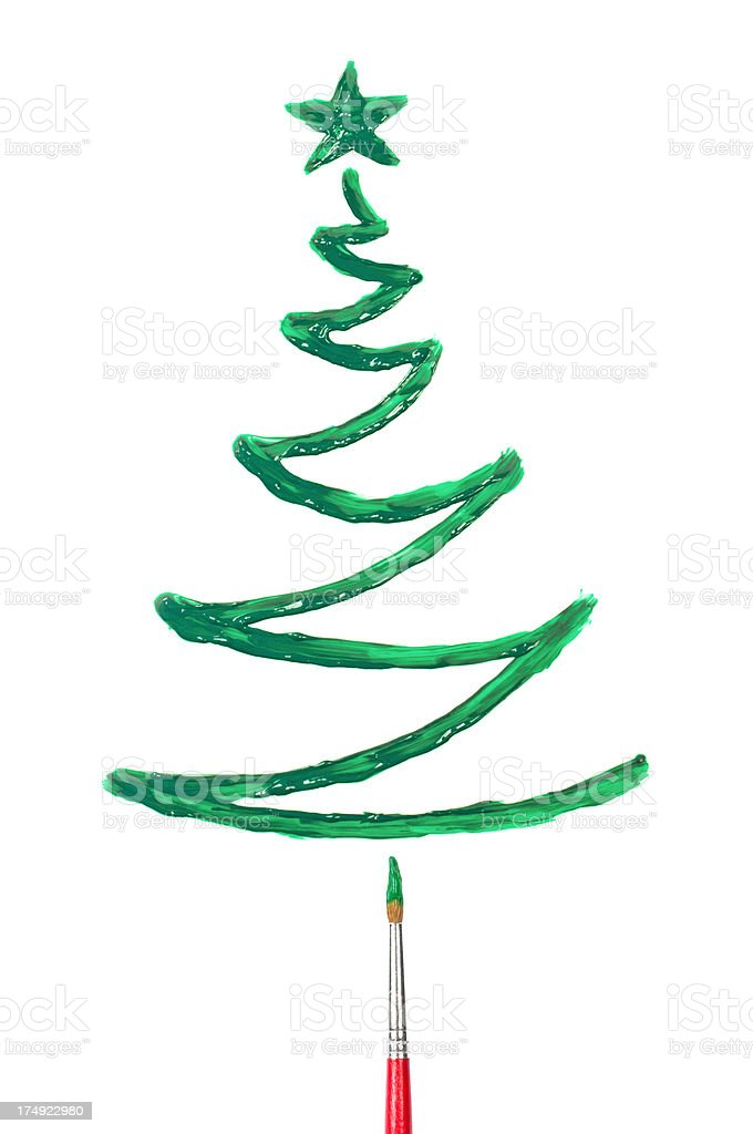 Painted green christmas tree royalty-free stock photo