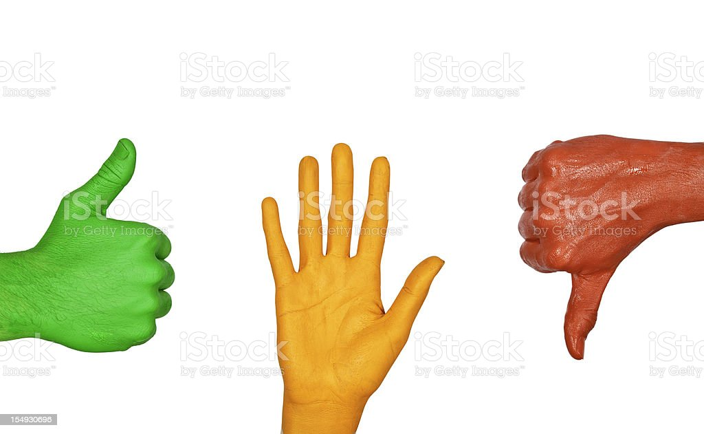 Painted hand signs royalty-free stock photo